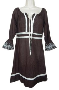 Moda International short dress Brown Crochet Embroidered on Tradesy