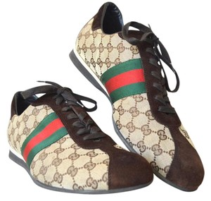 Gucci Gg Web Sneakers Men Brown Athletic