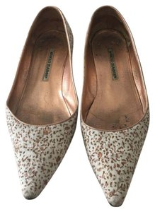 Manolo Blahnik Creme and Gold Flats