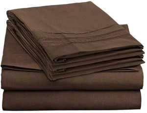 Clara Clark 4 PC King Sheets Set, Chocolate Brown