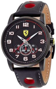 Ferrari Ferrari Men's Heritage Black Leather Red Hand Black Ion Plated Stainless Steel Chronograph Watch 0830059