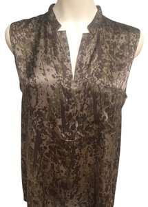 Theory Silk Sleeveless Top Olive Green/Slate Gray