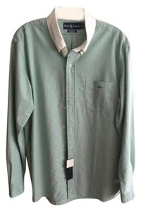Ralph Lauren Mens Button Down Shirt Pale Green with White Collar
