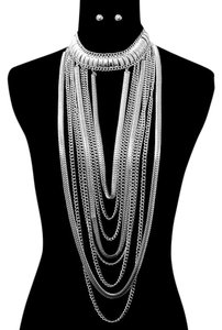 Other Multilayered Tribal Chic Rhodium Plated Silver Chain Necklace And Stud Earrings