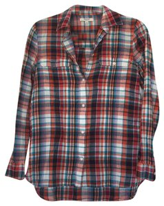 Madewell Button Down Shirt Red, blue, multi, white, striped
