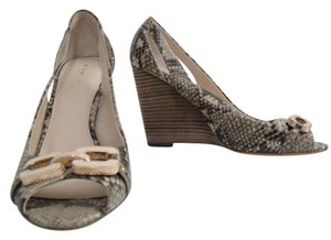 Coach Natural Print Snake Wedges