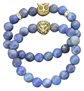 Marta's Designs Marta's Designs Set of 2 Lapis Bead Owl and Lion Stretch Bracelets