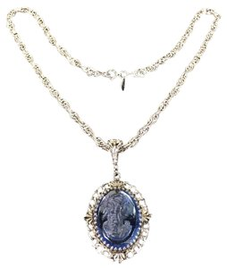 Whiting & Davis Whiting & Davis Blue Cameo Pendant and Silver Necklace