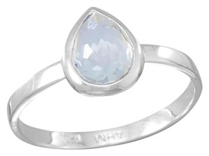 Other Small Pear Shape Freeform Faceted Light Blue Hydro Quartz Stackable Ring