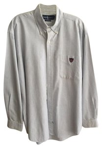 Ralph Lauren Mens Mens Dress Shirt Mens Mens Mens Button Down Shirt Blue and white striped