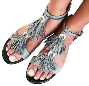 Jacquie Aiche Leather Limited Edition Grey Sandals