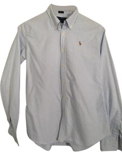 Ralph Lauren Preppy Classic Striped Button Down Shirt blue and white