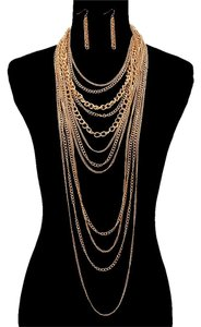 Multilayered Gold Chain Necklace And Earrings