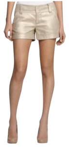 Alice + Olivia Cuffed Shorts Metallic Gold