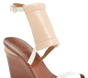 Tory Burch White/Nude Wedges