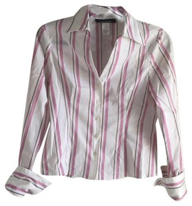 Jones New York Top Baby Pink, white with thin black and gold yellow stripes