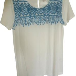 J.Crew Top White with blue embroidery