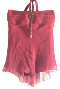 Willi Smith Top Ruby Crimson Red with Brass Decorations