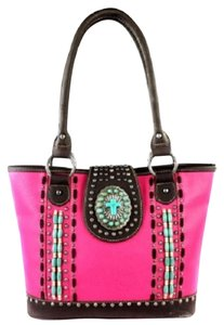 Montana West Spiritual Cross Wood Beads Tote in Hot Pink