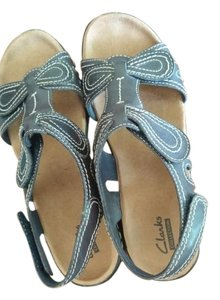 Clarks Leather Velcro Adjustable Navy Sandals