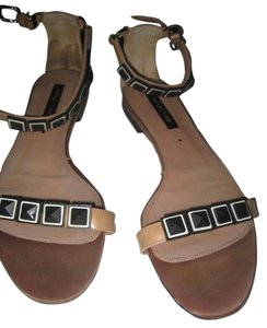 Sergio Rossi Runway Vintage light tan patent leather black Sandals