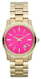 Michael Kors MK5801 Women's Runway Gold-Tone Stainless Steel Bracelet Watch 38mm