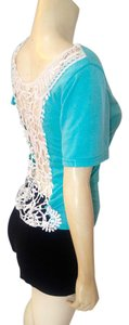 P2146 Open Back Lace Top teal