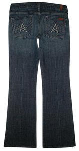 7 For All Mankind 5 Pocket Style Zip Fly Cotton/spandex Low Rise Boot Cut Jeans-Dark Rinse