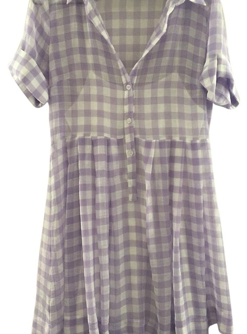 Item - Lavender/White Above Knee Short Casual Dress Size 6 (S)