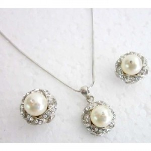 Ivory Silver Pearls Rhinestones Pendant Bridesmaids Gift Necklace Jewelry Set