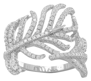 Other Rhodium Plated Signity CZ Feather Ring