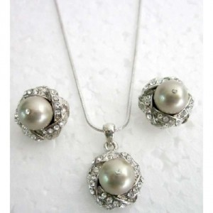 Champagne Silver Affordable Taupe Pearls Rhinestones Inexpensive Bridemaids Jewelry Set