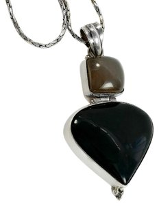 Black Onyx Teardrop Sterling Hinged Pendant Necklace
