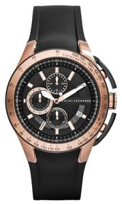 Armani Exchange Armani Exchange Watch, Active Men's Chronograph Rose Gold Black Silicone Strap