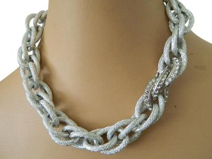 Alfani Alfani textured siver tone necklace and matching bracelet
