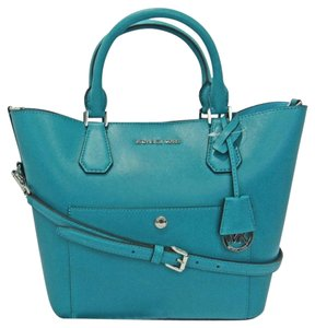 Michael Kors Saffiano Leather Mk Greenwich Greenwich Blue Tote in TEAL TURQUOISE TILE BLUE/AQUAMARINE