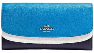 Coach New Double Flap Wallet in Colorblock Leather Navy Multi