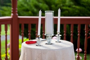 Silver & White Stands and S Unity Candle