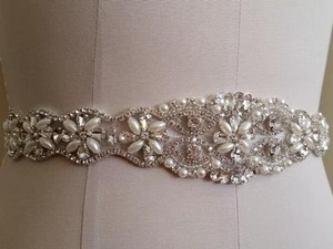 Crystals And Pearls Beaded Sash Color Ivory