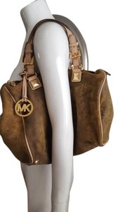 Michael Kors Distressed Leather Nubuck Suede Satchel in brown
