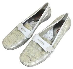 Sesto Meucci Loafers White Loafers Grey And White Loafers White And Silver Loafers White Made In Italy Flats