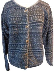 Alps Cardigan Navy Denim Blues Quality Casual Career Embellished Buttons Sweater