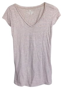 Club Monaco V-neck Striped T Shirt Pink and gray