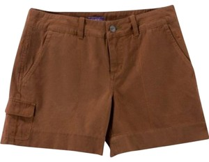 Ibex Dot Embroidery Wide Waistband Cuffed Hem Relaxed Fit Organic Cotton Brown Shorts