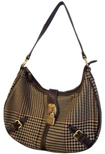 Chaps Houndstooth Leather Satchel Shoulder Bag
