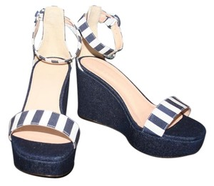 J.Crew Navy Ivory Wedges