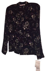 Chaus Button Down Top Black floral