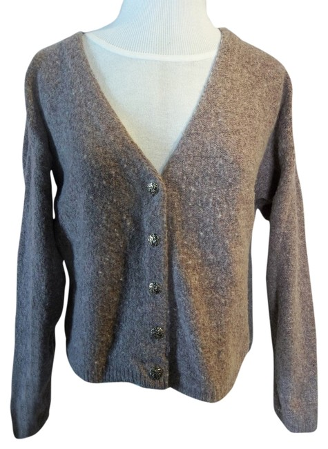 Alps V-neck Embellished Buttons Wool Blend Comfortable Layering Casual Career Cardigan