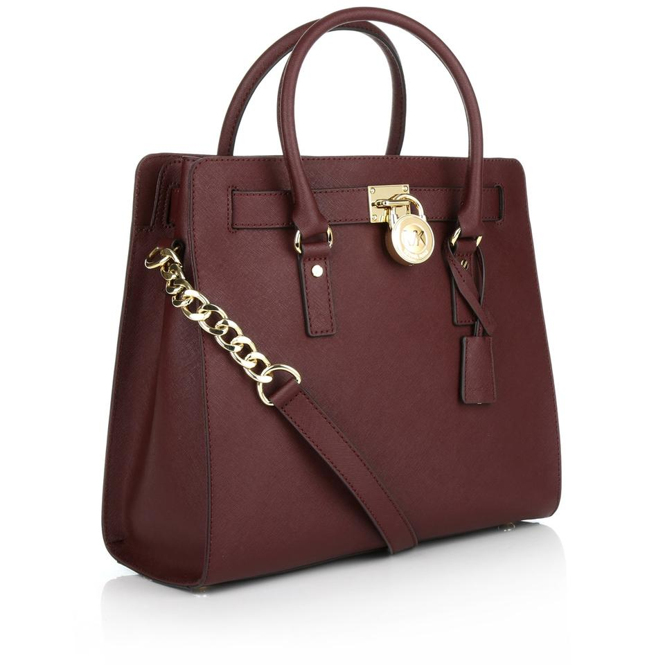1c9f033f6a7432 Michael Kors Hamilton Large Saffiano New with Tags Burgundy Merlot/Gold  Hardware Leather Tote - Tradesy