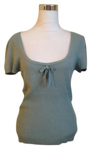 Trina Turk Aqua Scoop Neck Short Sleeve Bow Top Turquoise